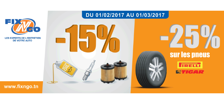 promo pneus, huile, bougies, filtres fix'n'go tunisie