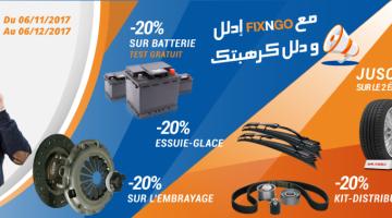 Promo Fixngo  Pneus batterie essuies glaces chaine de distribution