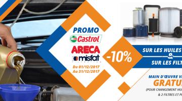 Promo FIX N GO huile lubrifiant castrol areca et filtres misfat