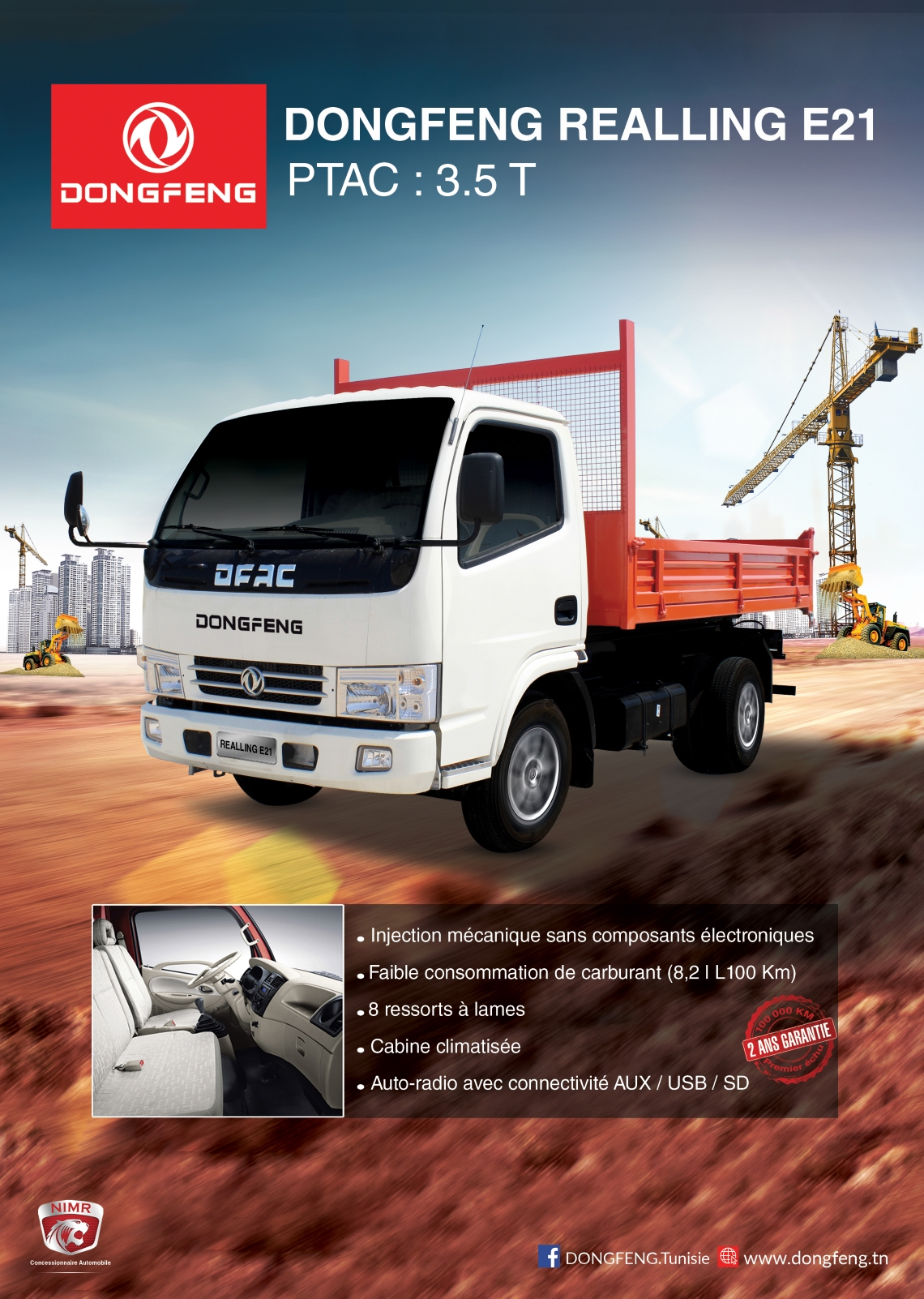 Prix camion Dongfeng tourisme Realling E21 châssis court neuf Tunisie 1