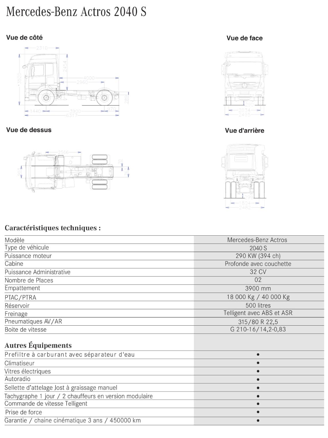 Prix camion Mercedes-Benz-Actros-2040S-Tracteur-routier-Tunisie 2